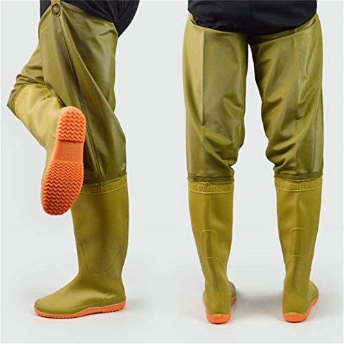 QTDZ Bottes Hanche Imperméables Légères, Hauteur 80 Cm Cuissardes Chasse Pêche Bootfoot PVC/Nylon sur Bottes Au Genou Chaussures Aquatiques Antidérapantes pour Hommes Et Femmes,Jaune,44 EU