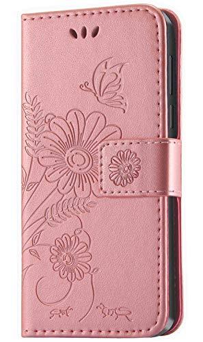 kazineer Cover Huawei P20 Lite, Custodia P20 Lite Flip Cover in Pelle Portafoglio [3 Slot Carte] [Funzione di Supporto] Caso per Huawei P20 Lite (Oro Rosa)