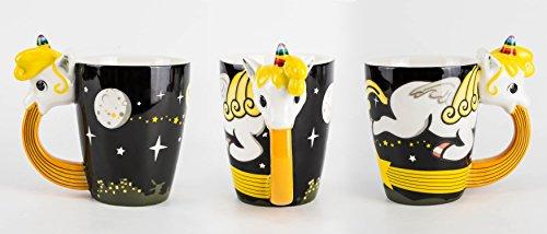 Kotzende Einhorn-Tasse in 3D aus Porzellan in schwarz