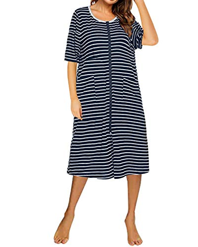 SUNNYME - Traje de Noche de Verano con Cremallera Frontal para el hogar, Suave y Corto, camisón con Bolsillos Azul Azul Marino M