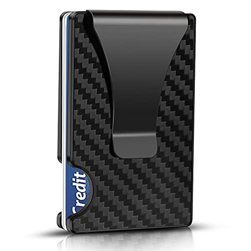 SWZA Carbon Fiber Minimalist Wallet for Men - RFID Blocking Credit Card Holder Metal Wallet- Money Clip Slim Front Pocket