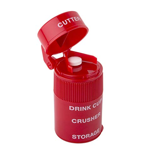 Ezy Dose Pill Crusher, Cutter and Grinder, Crushes Pills, Vitamins, Tablets, Stainless Steel Blade, Removable Drinking Cup, Red