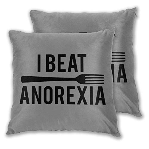 Nonebrand Fundas de Almohada cuadradas, vencí a la Anorexia (2) Fundas de cojín Decorativas de 2 Paquetes Fundas de Almohada para sofá Dormitorio Coche 16 'X16'