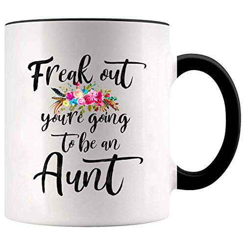 YouNique Designs Freak Out Youre Going to be an Aunt Pregnancy Announcement Mug, 11 Ounces, White (Black Handle)