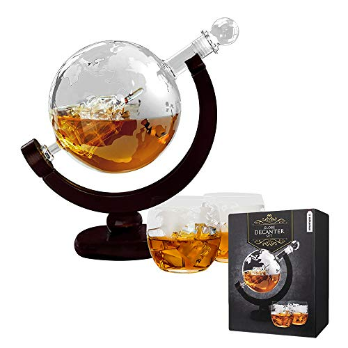 mikamax - Globe Dekanter Set - Whiskeykaraffe - mit Zwei Gläsern - Handgefertigt - Transparent -...