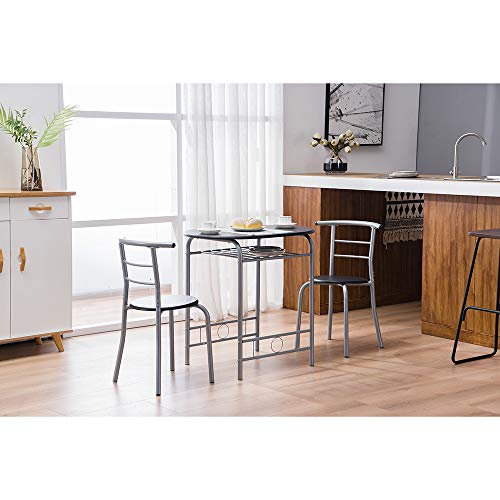 Jeerbly 3 Piece Dining Set with 2 Chairs and Table Set, PVC Breakfast Table and Stool Set, Restaurant Tables and Chairs, Living Room Tables and Chairs for Kitchen and Bar