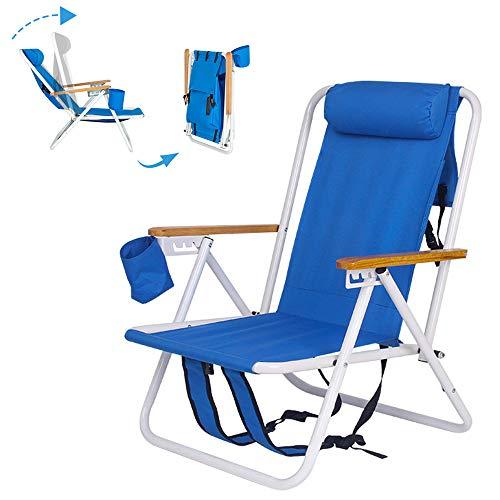 Mochila portátil, silla de playa, patio, plegable, ligera, para camping, jardín, parque, piscina, silla de salón con soporte para tazas
