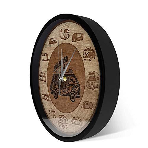 Wangzhongjie El Hogar Es Donde Estacionas RV Vehículos Recreativos Textura De Madera Impresión Acrílica Reloj De Pared Camper Vans Autocaravana Viajar Arte De Pared-Metal_Frame
