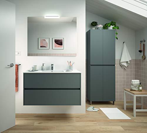 THE LIVING DESIGN FIND YOUR OWN STYLE Conjunto de Mueble de Baño NEJAR - 100 cm - 2 Cajones - Gris Mate. con Lavabo, Espejo y Aplique Led.