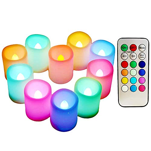 Multi Color Changing Votive Flameless Candles with Remote and Timer - Battery Operated Led Tea Light Candles?Set of 10 Colored Flickering Candles for Birthday, Wedding, Anniversary Easter Party D
