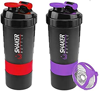 I&M Unlimited,LLC Protein Shaker Bottle - Water Bottle - Non Slip 3 Compartments Storage for Powder - Measurement Mixing Grid - Leak Proof Sport Mixer Bottle-16 oz Shaker Cup for Post Workout