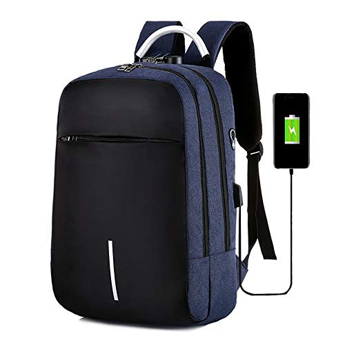 Laptop Backpack, 15.6-Inch Business Anti-Theft Ultra-Thin and Durable School Bag, with USB Charging Port RFID Anti-Theft Waterproof Wallet, Used for, Work, School, Travel,Blue