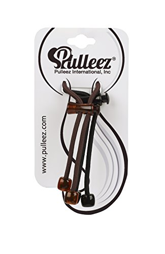Hair Tie – Ponytail Holder – Pulleez Sliding Elastic Hair Product – Double Pack – (1) Black, (1) Brown