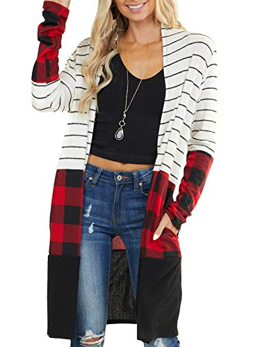 GOSOPIN Women Striped Open Front Long Knit Ribbed Cardigans Outwear Small White Plaid