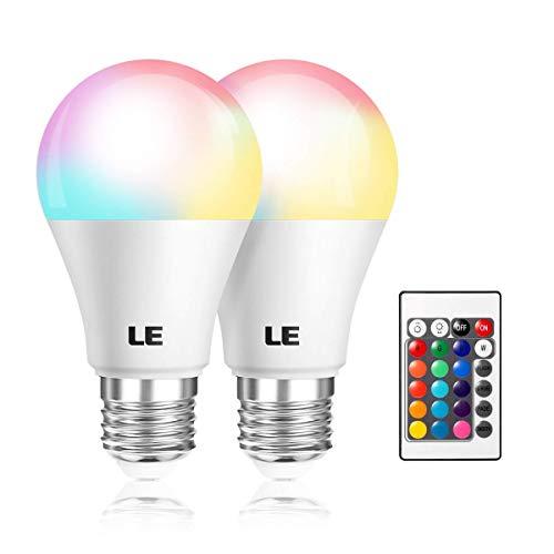 LE RGBW E27 LED Lampe, 6W dimmbar Birne mit Fernbedienung, RGB + Warmweiß 2700 Kelvin Farbwechsel LED Leuchtmittel (2 pack)
