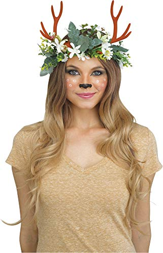 shoperama Corona de flores con cornamenta, ciervo, cervatillo, cervatillo, bambi
