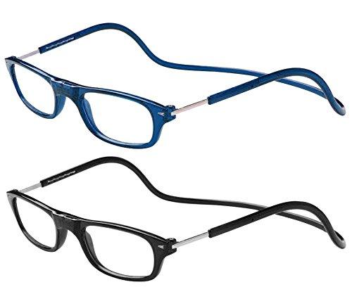 TBOC Pack: Gafas de Lectura Presbicia Vista Cansada – (Dos Unidades) Graduadas +1.00 Dioptrías Montura Azul y Negra Hombre Mujer Imantadas Plegables Lentes Aumento Leer Ver Cerca Cuello Imán