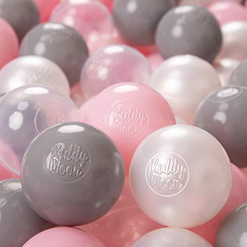 KiddyMoon 500 ∅ 6Cm Kinder Bälle Für Bällebad Spielbälle Baby Plastikbälle Made In EU, Perle/Grau/Transparent/Rosa