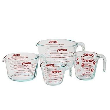 Pyrex Measuring Cup 4-piece Set, Clear, 15 x 12 x 5.375