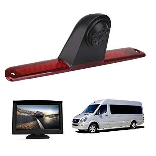 HD 720p Rückfahrkamera für MB Mercedes Benz W906 Sprinter 1500 2500 VW Crafter Transporter 3. Bremslicht Rückfahrkamera-Set mit 12,7 cm (5 Zoll) LCD-Monitor, wasserdicht, Nachtsicht Rückfahrkamera