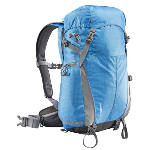 Mantona Elements Outdoor Rucksack (inkl. Regenschutzhülle, Laptop/Tabletfach, herausnehmbarer Kameratasche mit Tragegurt, geeignet für DSLR, Systemkamera, zwei Objektive und Kleinzubehör) blau