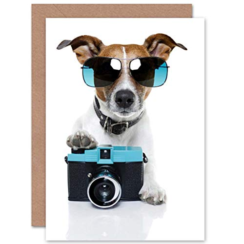 Wee Blue Coo Cool Jack Russell Dog Camera Photo Sunglasses Birthday Sealed Greeting Card Plus Envelope Blank Inside Fotografieren
