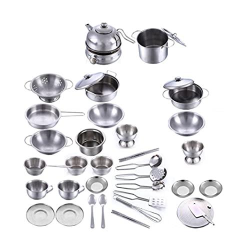 Yililay Acero Inoxidable de Cocina para niños Juguetes Artículos para cocinar Utensilios de Cocina de Juguete Juguetes Miniatura Vajilla Set de Juego de simulación para 18pcs para niños
