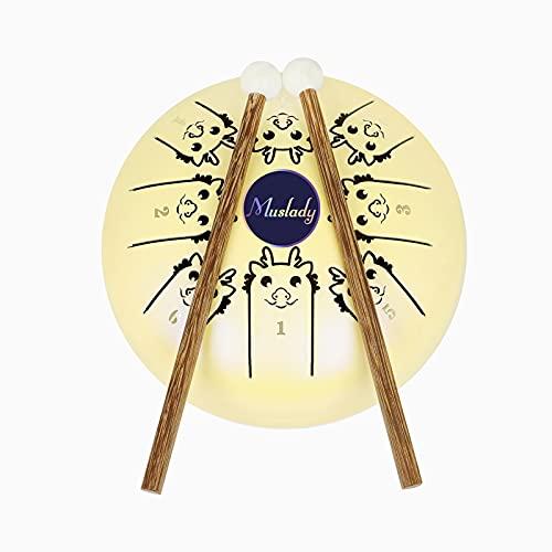 Sunbaca 5,5 polegadas Mini tambor de língua de aço 8 notas C Chave Handpan Drum Tambor de tambor com padrão do zodíaco chinês Instrumento de percussão com bolsa Music Book Marretas (padrão de dragão