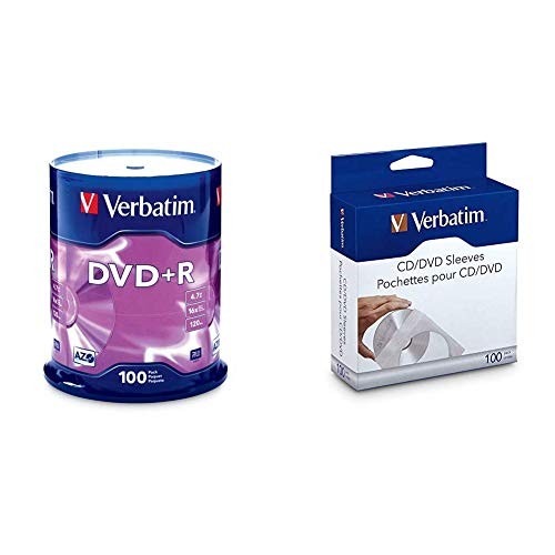 Verbatim DVD+R 4.7GB 16x AZO Recordable Media Disc - 100 Disc Spindle (FFP) - 97459 & CD/DVD Paper Sleeves-with Clear Window 100pk