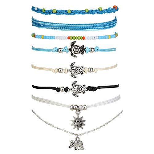 XIJIN String Anklets for Women Beach Turtle Elephant Ankle Bracelets Set Waterproof Braided Adjustable Boho Foot Anklet Pack blue