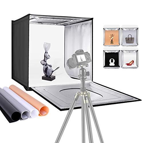 Neewer Scatola Tenda Fotografica Cubica 40cm Pieghevole Portatile con Luminosità Regolabile da Tavolo con Luce 80 LED 4 Fondali Colorati