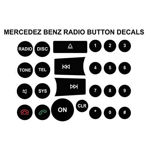 Fornateu CD-Player Radio Schalter-Knopf-Aufkleber-Abziehbilder Ersatz für Mercedes Benz C/E/GLK/W-Klasse 2008-2014