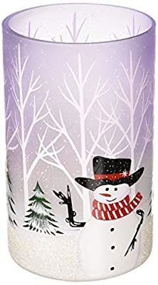 Pavilion Gift Company Hand Painted Snowman Frosted Glass Large Hurricane, 8 Inch Jar Candle Holder by Pavilion Gift Company