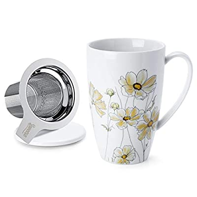 Sweese 201.153 Porcelain Tea Mug with Infuser and Lid, 15 OZ, Calliopsis