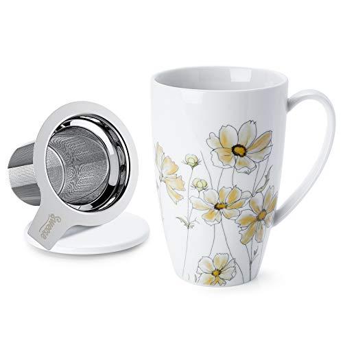 Sweese 201.153 Porcelain Tea Mug with Infuser and Lid, 15 OZ, Calliopsis
