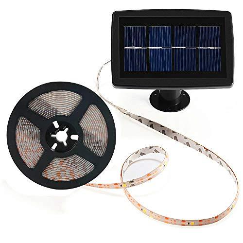 ELINKUME 150LEDs Luz de tira solar 5M/16.4ft SMD2835 IP65 a prueba de agua Tira de LED al aire libre Luz de la cuerda para el banquete de boda de la Navidad del balcón del jardín (blanco frío)
