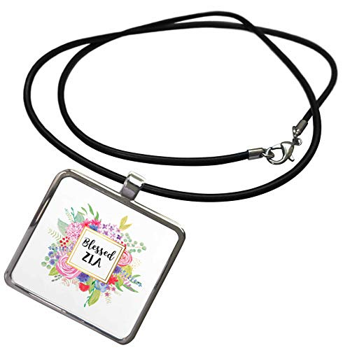 3dRose InspirationzStore - Blessed Series - Floral Blessed Zia Pretty Watercolor Pink Flowers Aunt in Italian - Necklace with Rectangle Pendant (ncl_316471_1)