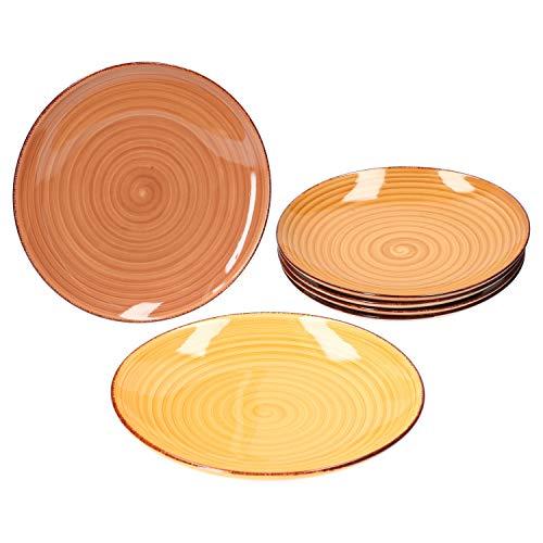 MamboCat 6tlg. Speiseteller Set Sandy für 6 Personen I Essteller flach 25,5 cm I edles Geschirr I 6 Farben
