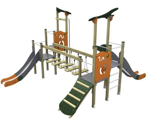 Loggyland Spielturm MODERN V mit Brücke, zwei Rutschen, Rutschstange und Rampe - für öffentliche Spielplätze & Einrichtungen