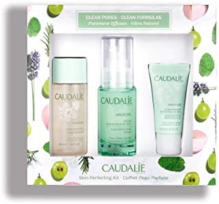 Caudalie Vinopure Gift Set. Refining Vinopure Skin Perfecting Serum (30 milliliters) Purifying Vinopure Toner (50 milliliters), and Hydrating Vinopure Skin Perfecting Mattifying Fluid (15 milliliters)