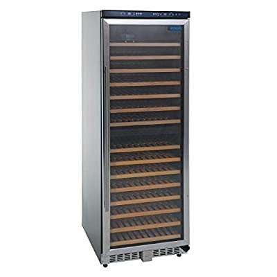 Polar CE218 Dual Zone Wine Cooler, Stainless Steel Door with lock, 155 Bottle by Nisbets