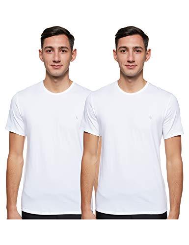 Calvin Klein Herren S/s Crew Neck 2pk Schlafanzugoberteil, Weiß (White 100), Large
