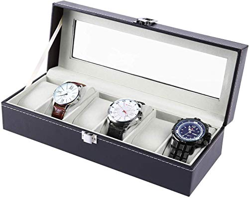 Ohuhu® Expositor/Caja/estuche de piel con reloj/cubierta de la reloj/caja joyero/Joyero Reloj gráfico extraíble de almacenamiento con bandeja de cristal y almacenamiento almohadas, negro, 6-slots gris
