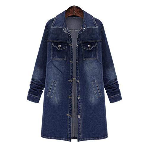 ZVHUK Frauen Herbst Revers Jeansjacke Lange Blaue Jeansjacke Übergroße Jeans Windjacke Lässige Langarmjacke,Blau,XXXL