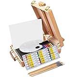 Kuyal Lot de 18 chevalet en bois avec 18 couleurs de peinture à l'huile acrylique, 12 crayons de couleur, 6 pinceaux d'artiste, 1 toile tendue, 12 pastels doux, chevalet de table avec fournitures