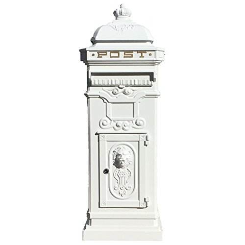 Die haysham weiß Metall Briefkasten–103cm hoch