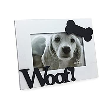 Isaac Jacobs White Wood Sentiments Dog Woof! Picture Frame, 4x6 Inch