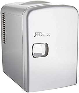Uber Appliance UB-CH1 Uber Chill Mini Fridge 6-can portable Thermoelectric Cooler and Warmer mini fridge for bedroom, office or dorm (Gun Metal silver)