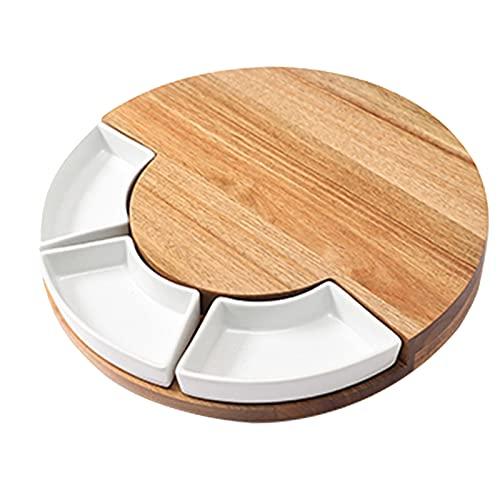 Baoblaze de tablero de queso de bambú y juego de cuchillos bandeja de servicio con cajón oculto para vino, galletas y regalo de calentamiento de la casa - Blanco