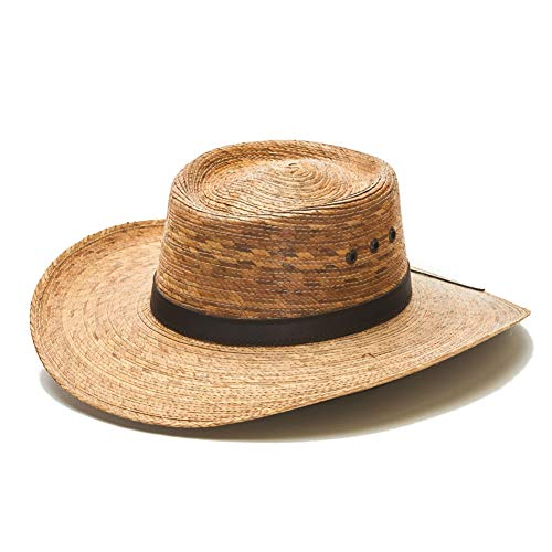 Straw Cowboy Palm Leaf Hat, Sombreros para Hombres de Palma (Natural/No Strap)
